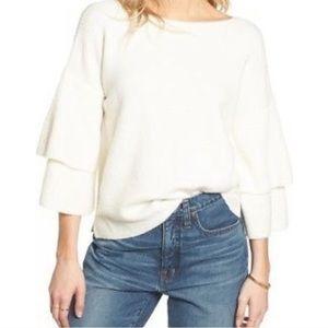 Madewell Tier Sleeve Pullover Sweater Cream Small